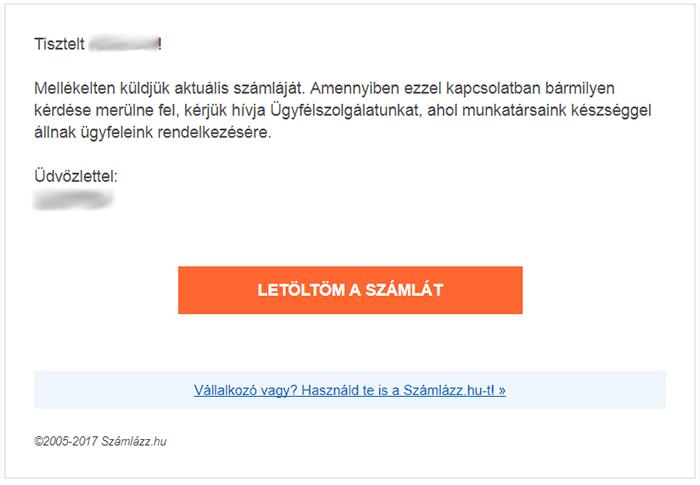 Számlaértesítő e-mail