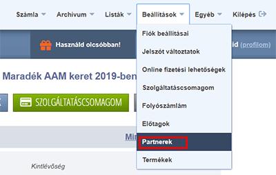 Számlázz.hu menü - Partnerek