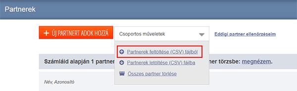 Partnerek feltöltése a Számlázz.hu-ba