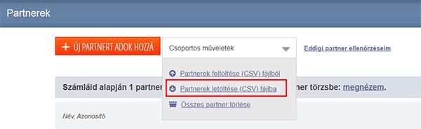 Partnerek letöltése a Számlázz.hu-ból