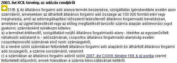 2003. évi XCII törvény az adózás rendjéről