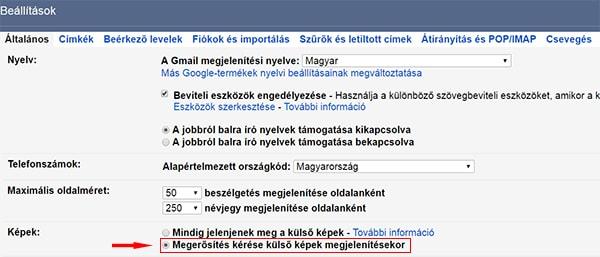 Gmail képek megjelenítésének szabályozása
