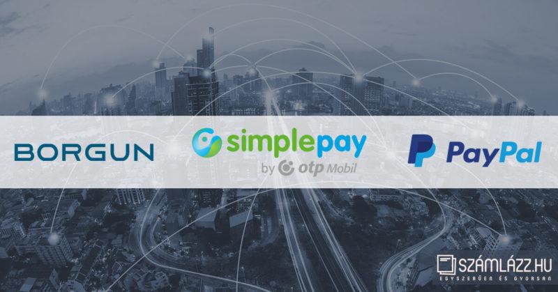 Online fizetés a Számlázz.hu-nál, PayPal, Borgun, SimplePay
